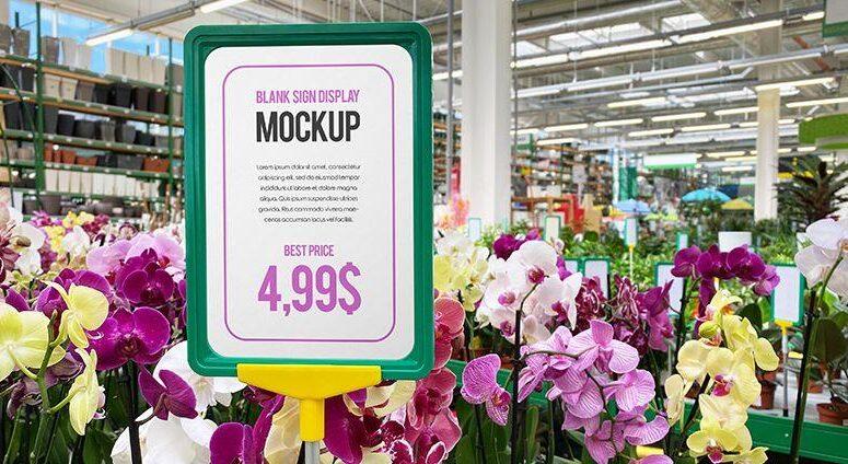 Free Blank Sign Display Mockup