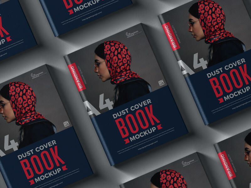 Free Dust Cover Branding A4 Book Mockup