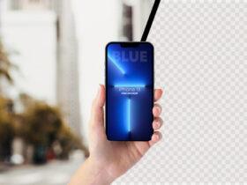 Free Holding iPhone 13 PRO Mockup