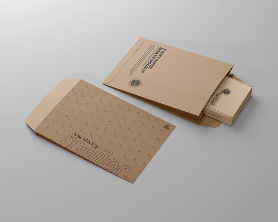 Free Kraft Paper Mailer Mockup