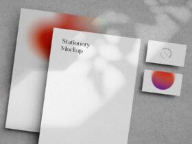 Free Lively Shadows Stationery Mockup