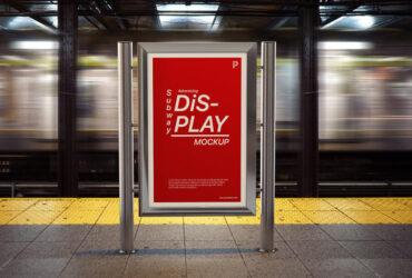 Free Subway Advertising Display Mockup