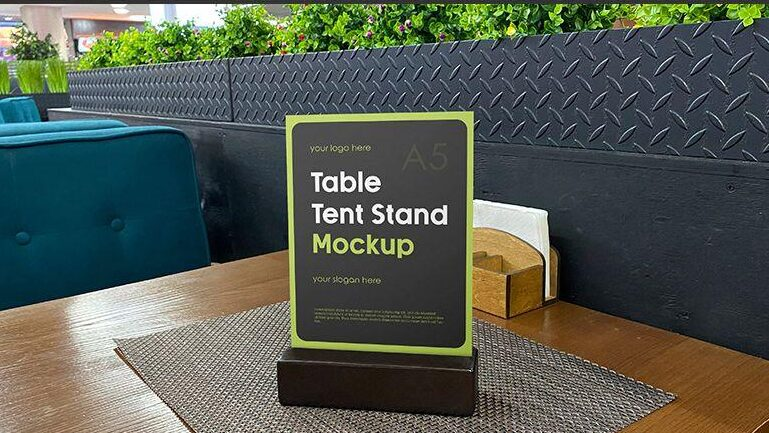 Free Table Tent Stand Mockup