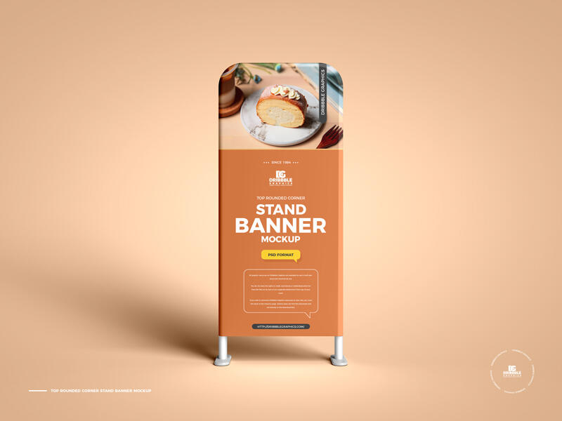 Free Top Rounded Corner Stand Banner Mockup