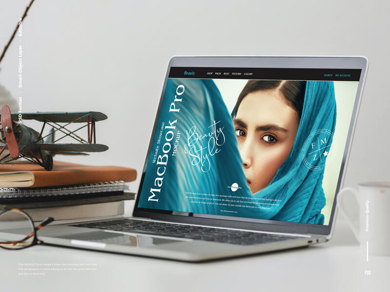 Free Website Showcase MacBook Pro Mockup