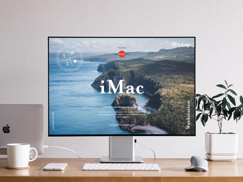 Front View Workstation iMac Free Mockup