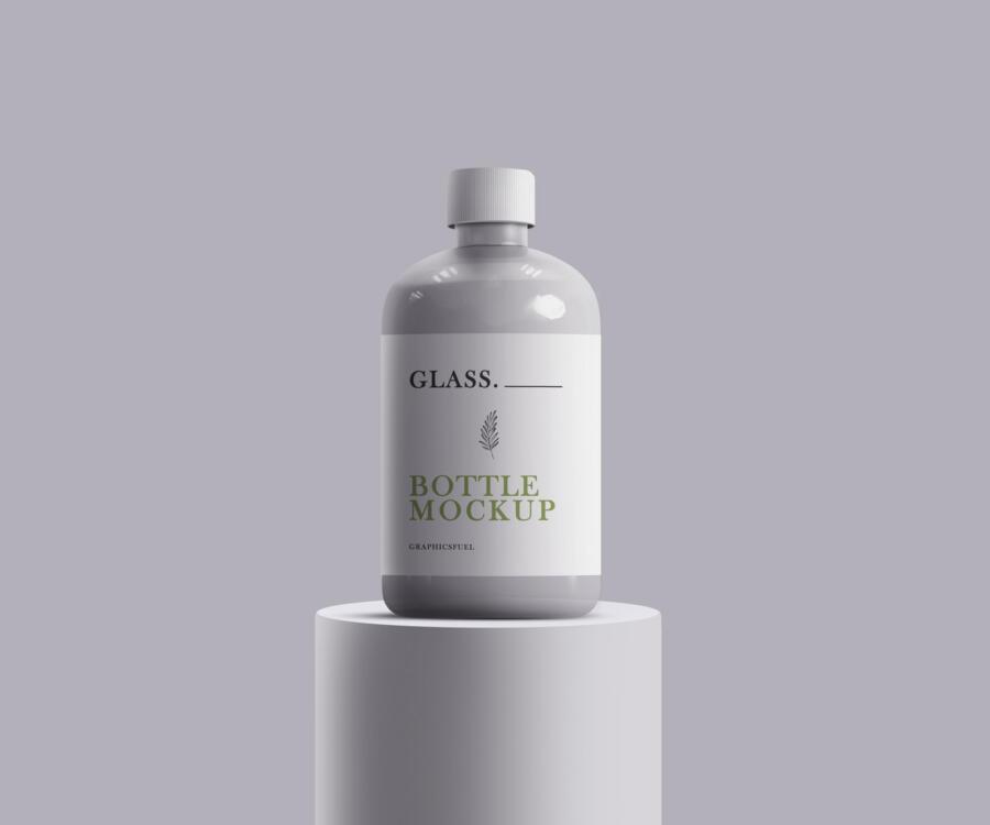 Glass Bottle Free Mockup