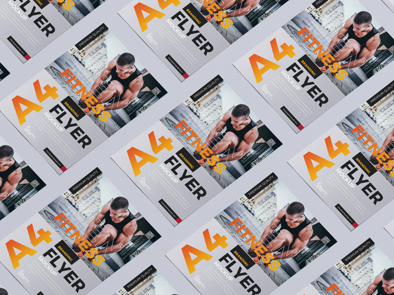 Grid Branding A4 Flyer Free Mockup