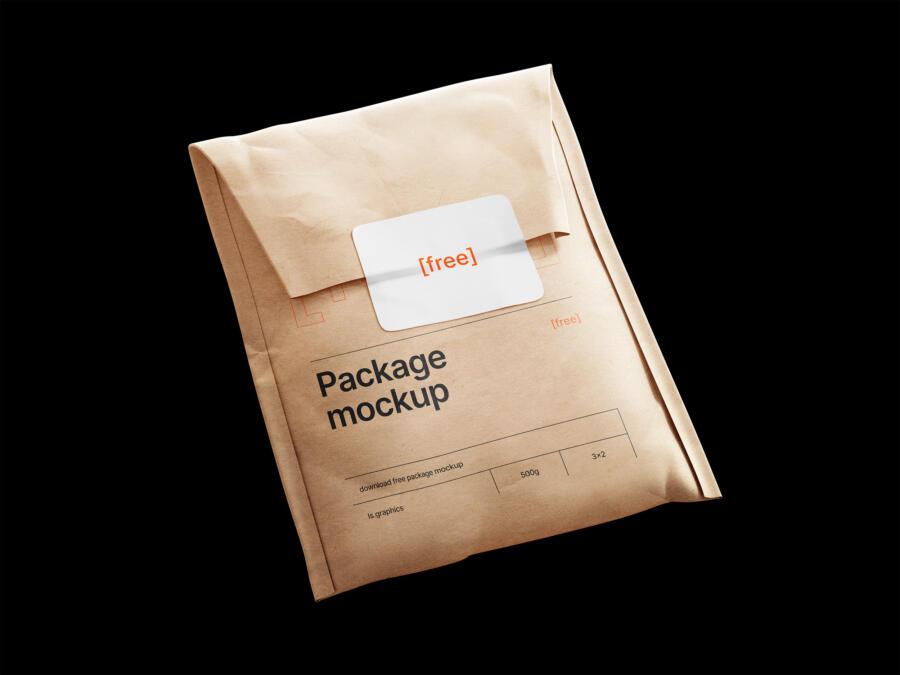 Kraft Paper Postal Bag and Sticker Free Mockup