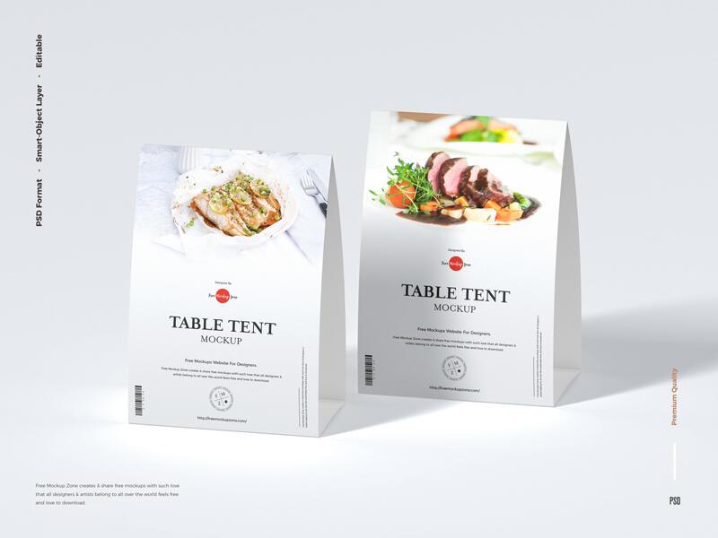 Modern Table Tent Free Mockup