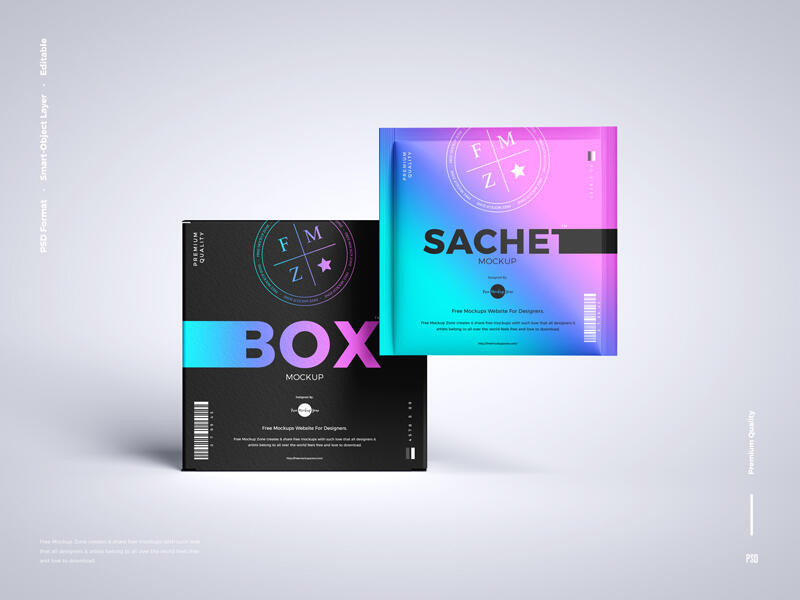 Sachet With Box Packaging Free Mockup