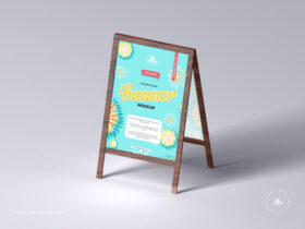 Wooden Stand Banner Free Mockup