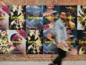 Brick Wall Posters Free Mockup