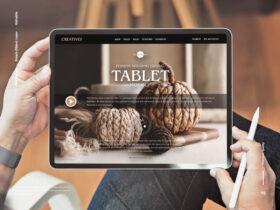 Free Person Holding Digital Tablet Mockup