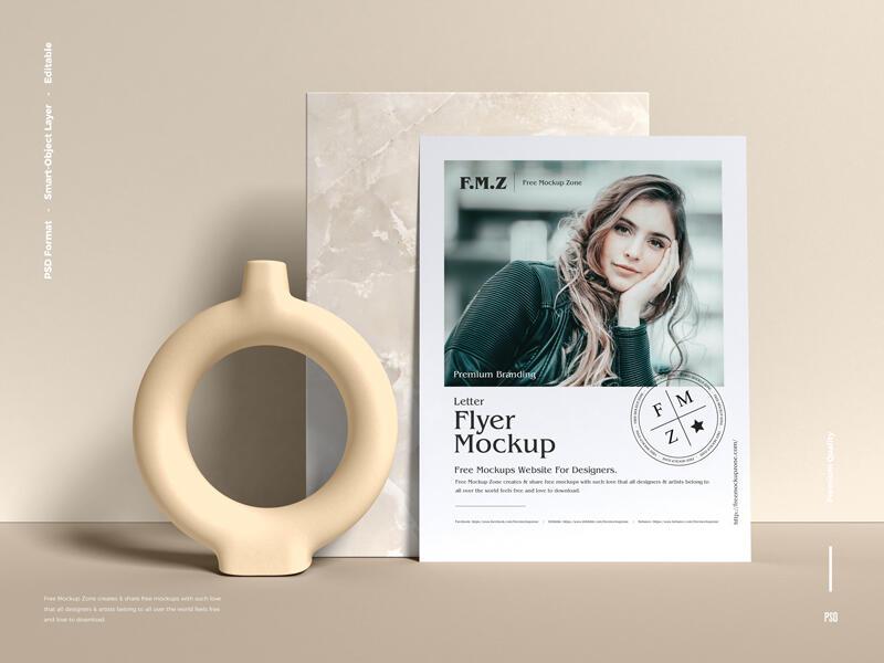 Free Premium Branding Letter Flyer Mockup