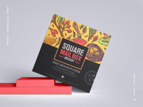 Free Square Mail Box Mockup