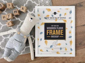 Free Top View on Wooden Floor Frame Mockup