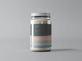 Glass Jar with Label Free Mockup