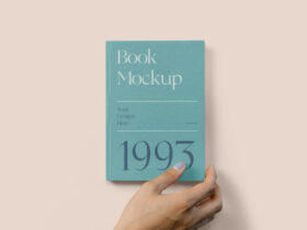 Hard Cover Book with Hand Free Mockup