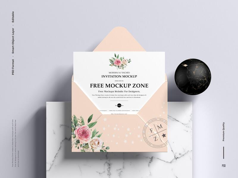 Modern 5×7 Inches Invitation Free Mockup