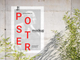 Poster on Concrete Wall Free Mockup