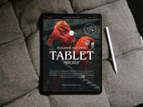 Realistic Top View Tablet Free Mockup