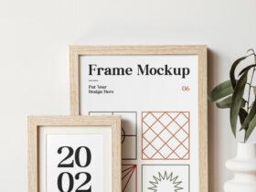 Wood Frames on Table Free Mockup